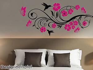Details zu Wandtattoo Blumenranke zweifarbig Blumen Ranke Wohnzimmer  Schlafzimmer