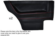 RED STITCH 2X REAR DOOR CARDS LEATHER SKIN COVERS FITS VW GOLF MK1 COUPE 3 DR