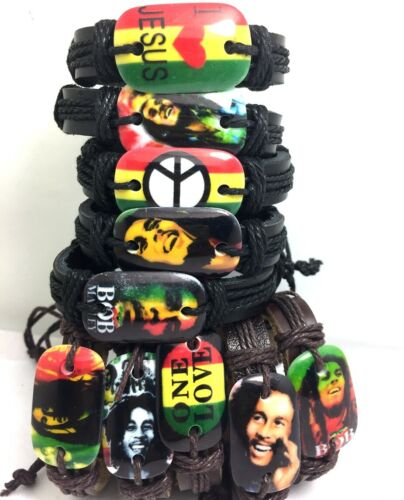50x Bob Marley jamaiga rasta en résine cuir réglable bracelets wrsitbands