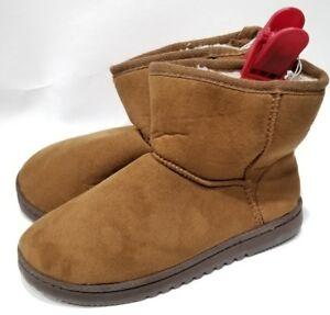 DearFoams-Synthetic-Size-L-US-9-10-Fleece-Lined-Faux-Suede-Bootie-Slippers-NEW