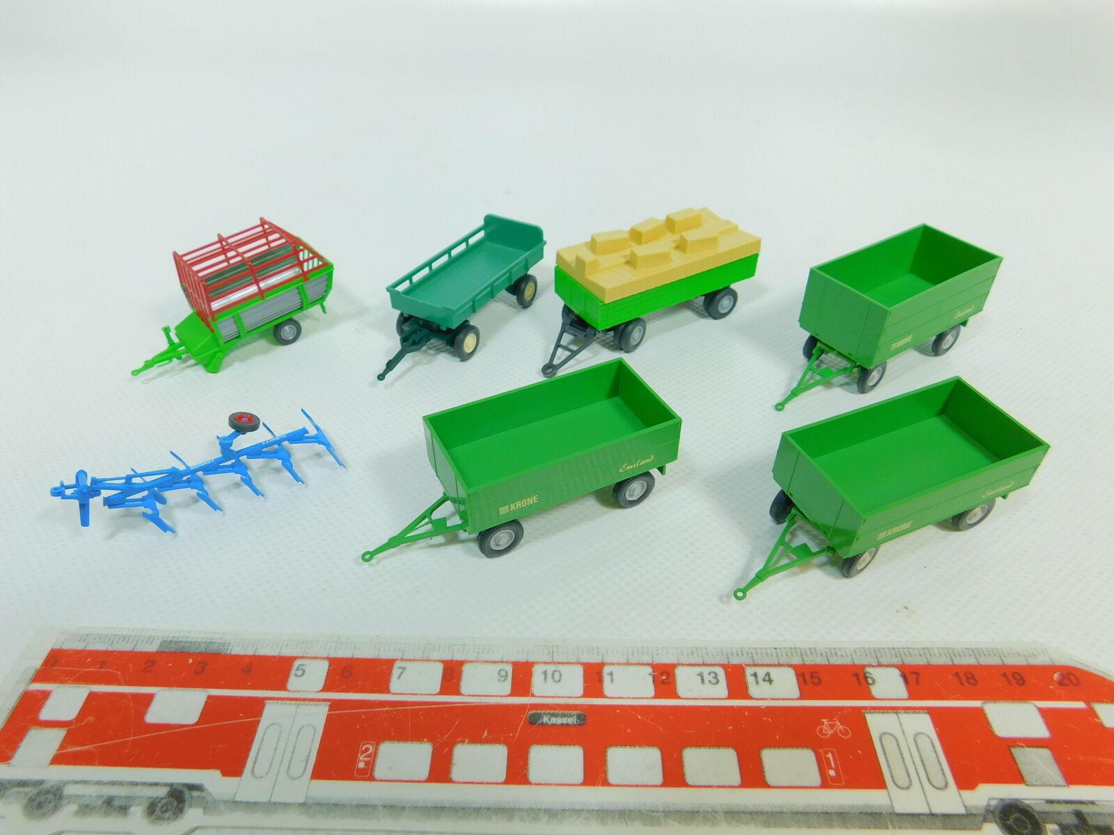 Bo494-0, 5   7x wiking h0   87   trailer pflug  krone emsland usw., minze