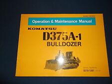 KOMATSU D375A-1 DOZER BULLDOZER OPERATION & MAINTENANCE BOOK MANUAL S/N 15001-UP