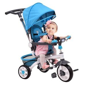 4-in-1 Detachable Baby Safe Stroller Tricycle w/ Removable Round Canopy + Basket
