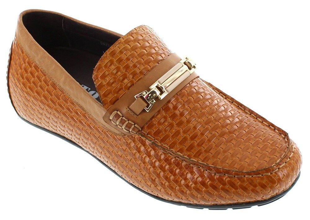 il più economico TOTO H3216 - 2.2 Inches Elevator Elevator Elevator Height Increase Moc-Toe Leather Woven Slip On  outlet online
