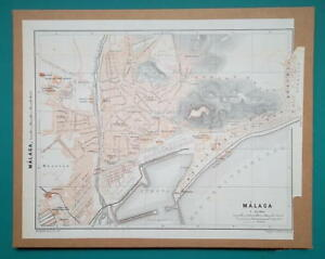 Details about SPAIN Malaga City Town Plan - 1911 MAP 8 x 11