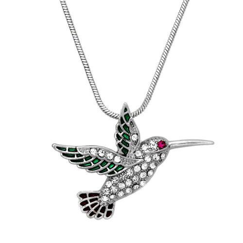 Silvertone Bird Hummingbird Pendant Necklace in a Gift Box Fast Shipping