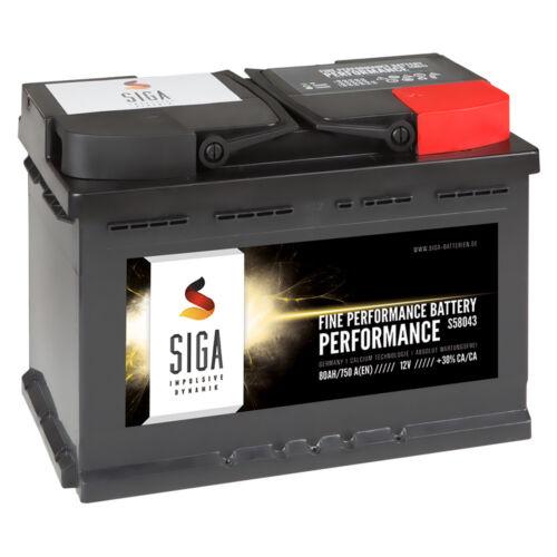 SIGA Autobatterie Starterbatterie 12V 80Ah ersetzt 71AH 72AH 74AH 75Ah 77AH