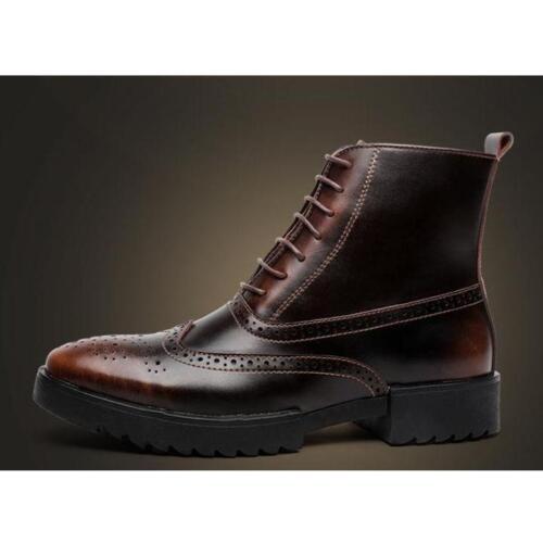 Genuine Leather Lace Up wingtip ankle Boots Casual shoes Men Brogue Shoes sz