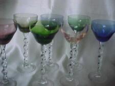 7----Multi-Color Wine Goblets  Color Glass Twisted Stem