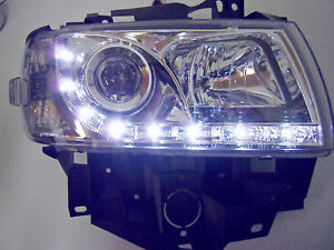 VW-T4-LED-Tagfahrlicht-Optik-Scheinwerfer-Chrom-Langer-Vorderwagen-96-03-SWV31GX