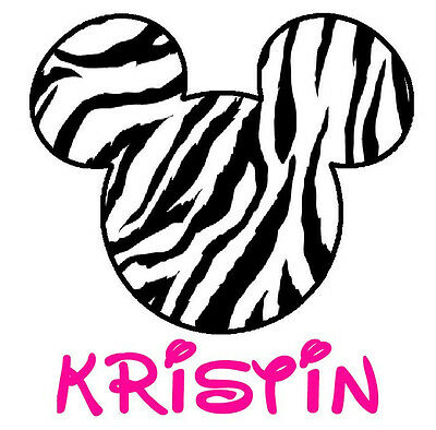 DISNEY   MICKEY MINNIE MOUSE ZEBRA PERSONALIZED T-SHIRT IRON ON TRANSFER