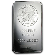 100 oz Sunshine Minting Silver Bar - MintMark SI™ Security Feature - SKU #77282