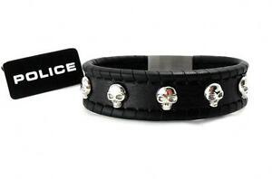 POLICE-Herren-Leder-Band-Armband-Edelstahl-SKULL-SPIRIT-PJ24410BLB-01-S-gt-gt-NEU