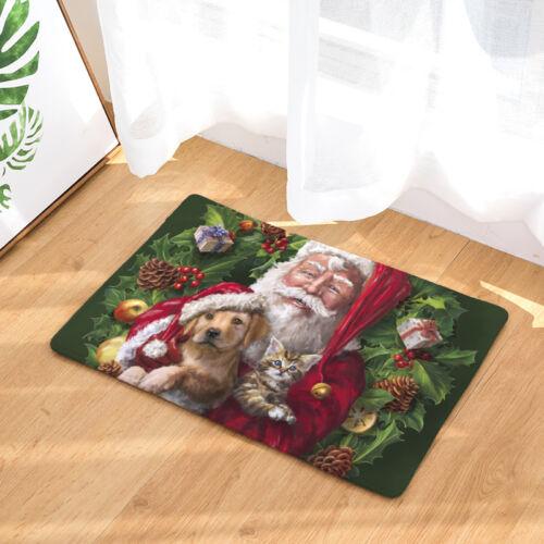 Merry Christmas Gift Mats Light Thin Flannel Dog And Cat Door Mats Kids Bedroom