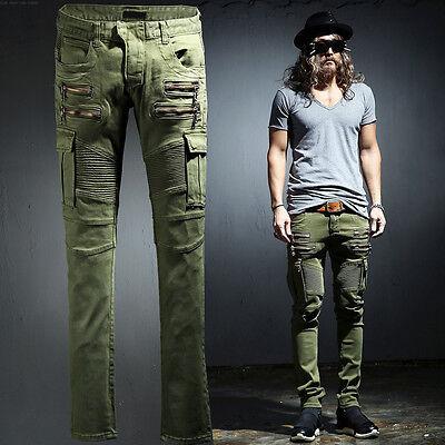 ByTheR Men's Fashion Cotton Washing Cargo Pocket Biker Pants UrbanChic P000BIGI