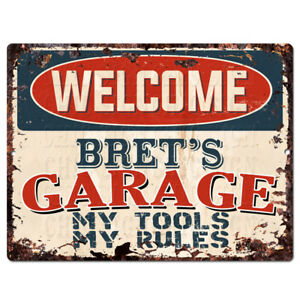 PPWG0507-WELCOME-BRET-039-S-GARAGE-Chic-Sign-man-cave-decor-Funny-Gift