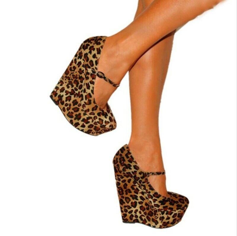 Damen Keilabsatz Platform Fesselriemen Leopard Cosplay Punk Cosplay Pumps 44-47