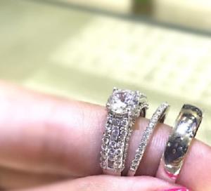 Mens Womens Engagement Wedding Trio Set 2.10Ct Round Diamond 14K White gold Over