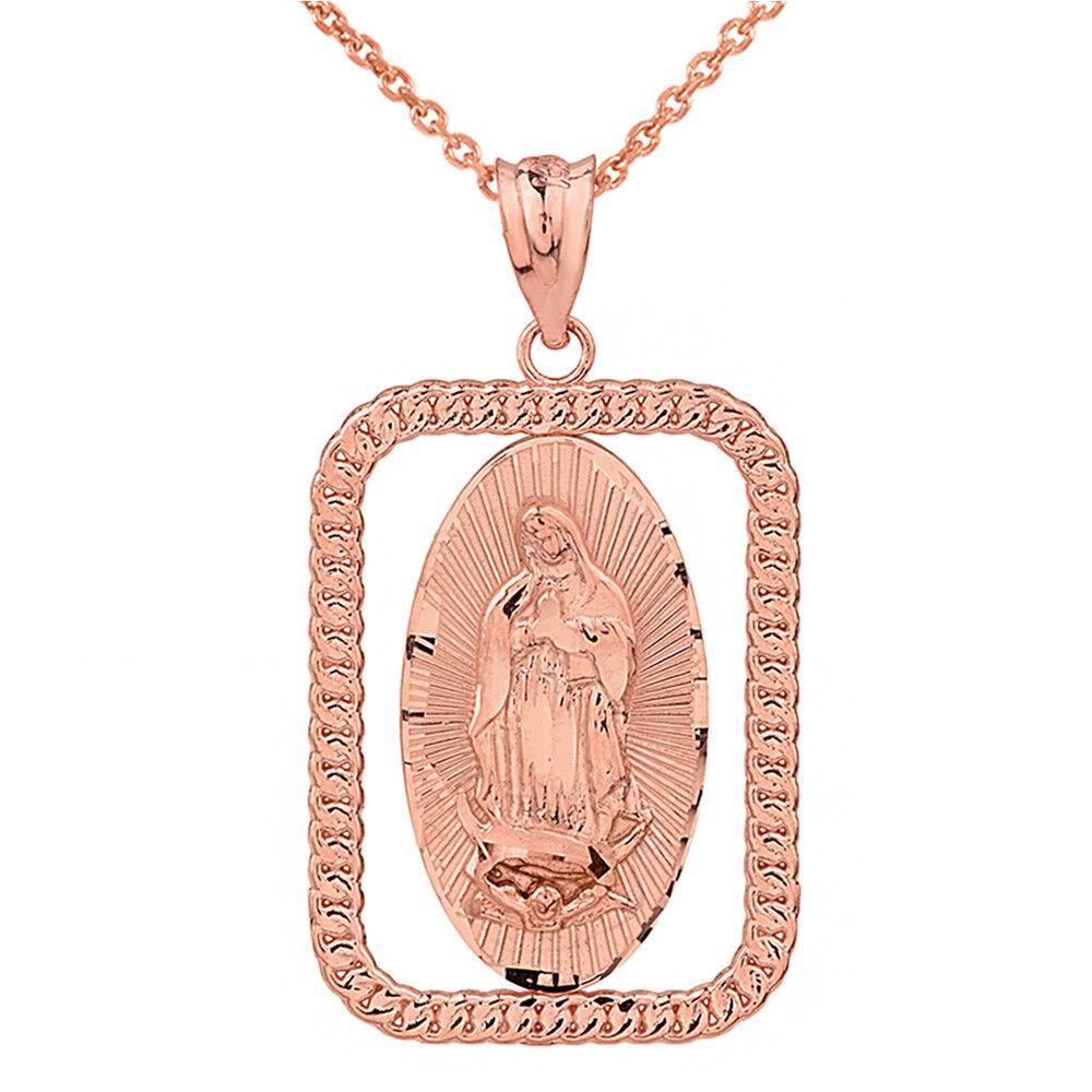 10k pink gold Link Frame Our Lady of Virgen De Guadalupe Rectangular Pendant