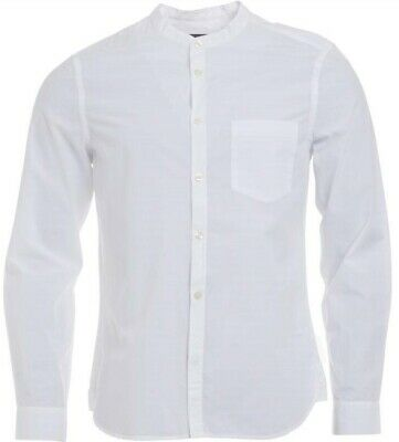 Mens Grandad Shirt collarless White /& Blue Band Collar Shirt Slim Fit UK S To XL