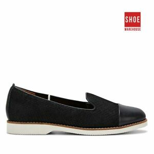 Hush Puppies DEMI Black Womens Loafer Casual Leather Shoes