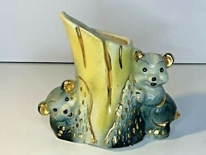 Vintage-Bear-Cubs-Planter-MCM-Ceramic-Hand-Painted-Pottery-Hide-amp-Seek