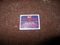 1926 1927 1928 1929 1930 1931 Buick Ac Flame Arrester Air Cleaner Base Decal