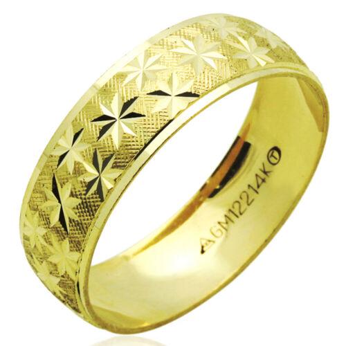 Hombres Mujeres 14K Oro Amarillo 6mm Diámetro De Corte Anillo De Bodas Anillo de mano derecha//Caja De Regalo