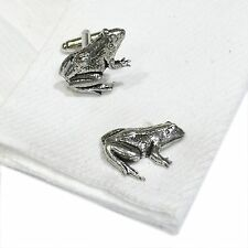 English Pewter FROG  animal Cufflinks. Xmas Gift NEW (X2TSBCA14)