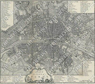 GIANT VINTAGE historic A PLAN OF THE CITY PARIS FRANCE 1800 OLD STYLE Wall MAP