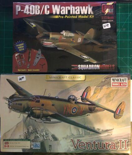 airplane model kit bundle P-40B//C Warhawk and Ventura II NIB Scale 1//72