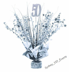 50TH BIRTHDAY PARTY SILVER SPRAY TABLE CENTREPIECE DECORATION  BALLOON WEIGHT