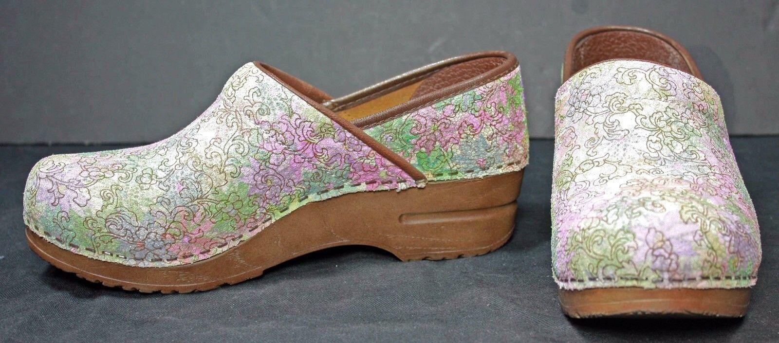 Sanita Womens Clogs size 6.5     7 Leather Multi-color Pastel shoes Dansko WH34 ea1373