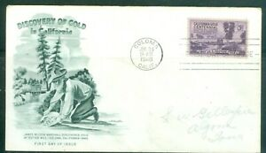 US-FDC-954-GOLD-INCALIFORNIA-cancelled-JAN-24-1948-COLOMA-CALIF-ADDR