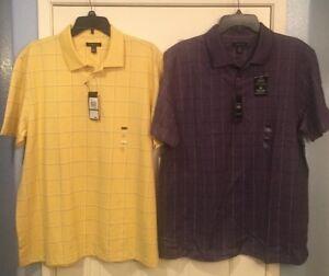 76fb99ef260e Men s Van Heusen Flex Polo Shirt  50 Stretch Yellow Purple ...