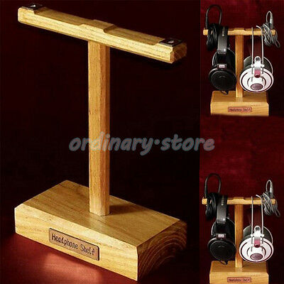 1X Luxury Wooden Headphone Headset Earphone Stand Hanger Holder Display Rack New