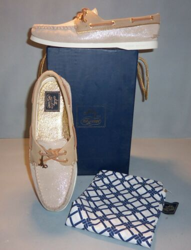 NIB NEW Milly for Sperry Women/'s Top-Sider Taupe Sparkle Suede Boat Shoes SIZES