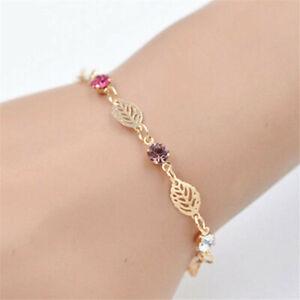 Women-Chic-Simple-Retro-Jewelry-Rhinestone-Gold-Leaf-Chain-Bracelet-Bangle-Gift