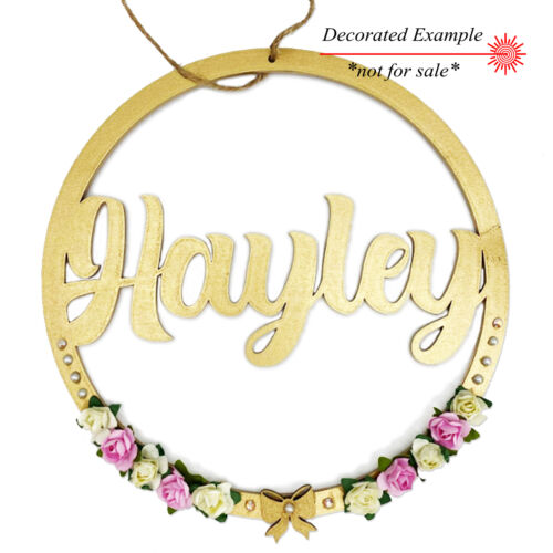 Personalised Name Hoop 3mm MDF Wood Circle Home Nursery Wall Sign Round Plaque