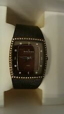 SKAGEN WOMEN'S BRONZE MOTHER OF PEARL CRYSTAL ACCENT DRESS WATCH