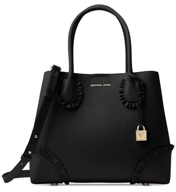 c127e3cefd8e Michael Kors Mercer Gallery Center Zip Medium Tote Leather Satchel Black