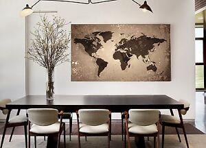 xxl bild 140x85x5 loft design leinwand weltkarte braun. Black Bedroom Furniture Sets. Home Design Ideas