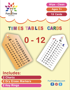 2 Markers /& 2 Key rings Wipe-clean Sturdy Multiplication Flashcards 2 Charts