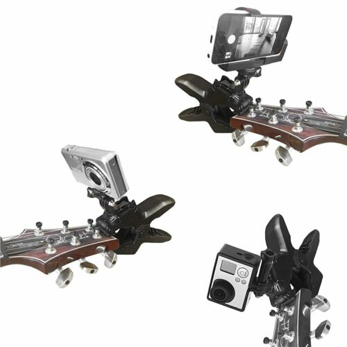 For Gopro Action Cameras /& Phone Guitar Headstock Phone Fixing Clamp Clip Mount