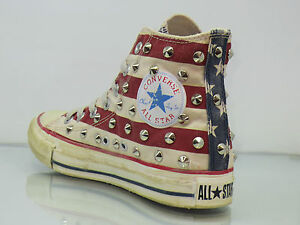 Converse all star Hi borchie oro bandiera americana distressed artiginali
