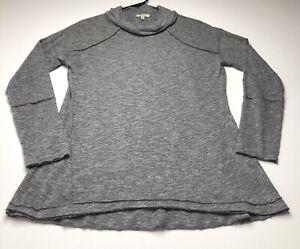 Kori America Women Cowl Neck Top Sweater Small S Gray Long Sleeve Casual Stretch