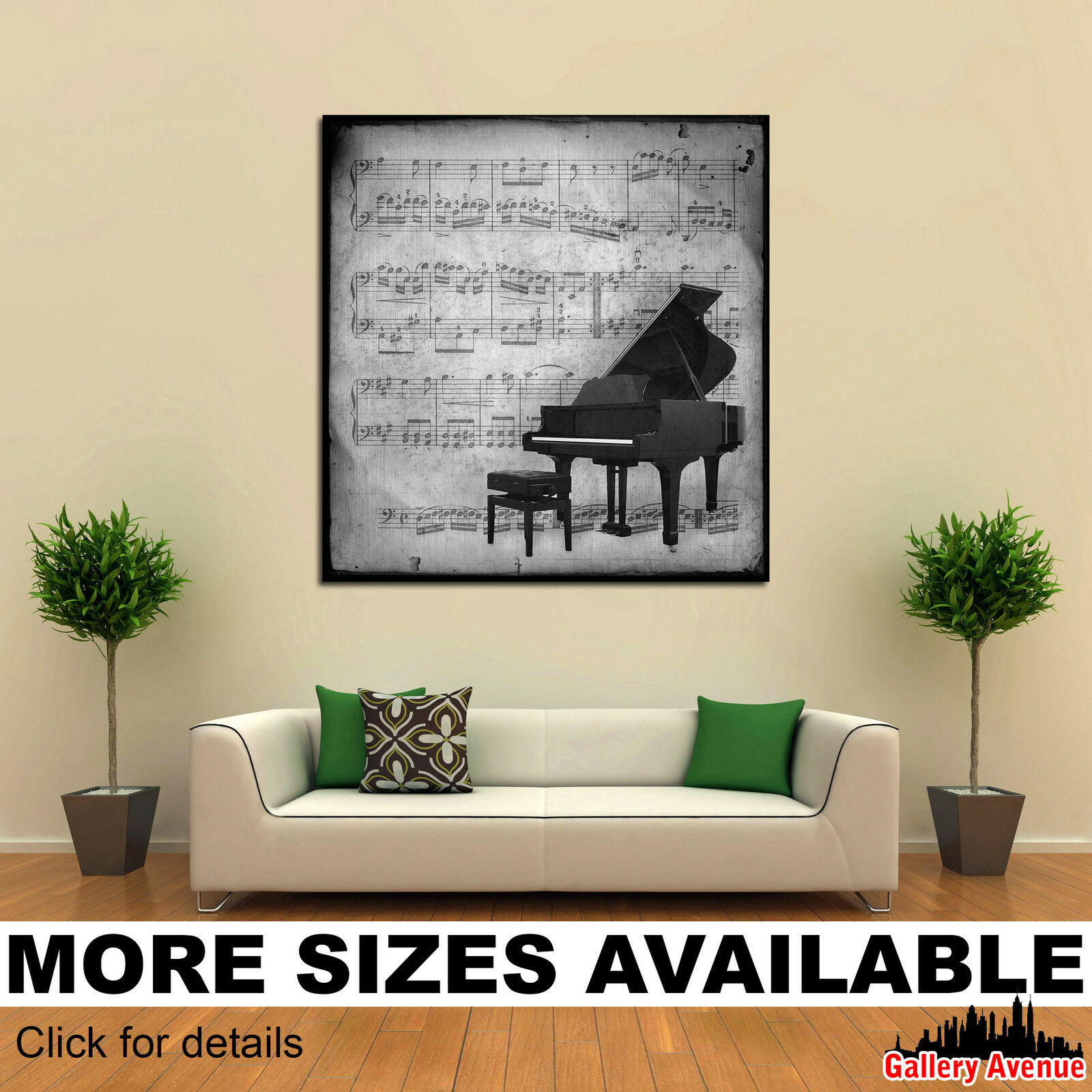Wall Art Canvas Picture Print - Antic Music Sheet Piano bw 1.1