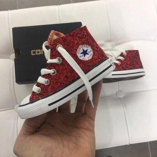 Converse All Star Glitter rouge Brillantinate  chaussures B