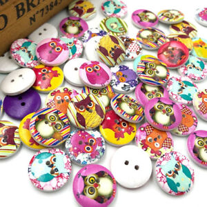 New-50pcs-Cute-Owl-Wood-Buttons-20mm-Sewing-Craft-Mix-Lots-WB53
