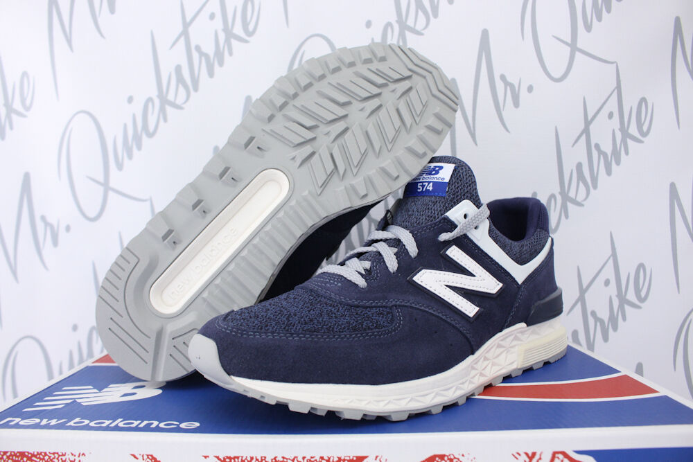 NEW BALANCE 574 SPORT SZ 8.5 DEEP SEA blueE 574S NAVY OFF WHITE SUEDE MS574BB